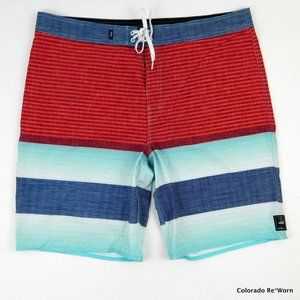 Vans Red White Blue Stripe Stretch Board Shorts